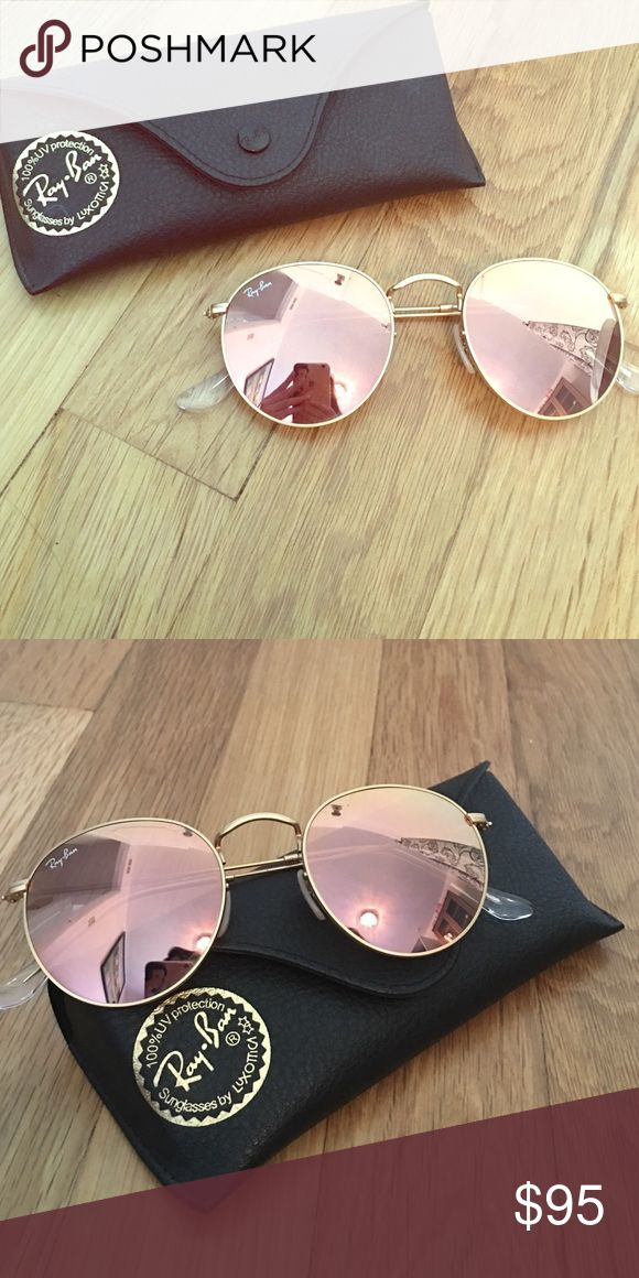 "Ray Ban Round Flash Mirrored Sunglasses ""Artista gold copper"" colored sunglasses by Ray Ban. They reflect like a mirror and are a very pretty copper/ rose gold color. 100% UV protection, wire rimmed round sunglasses. There are nose pads as well. Ray-Ban Accessories Sunglasses"