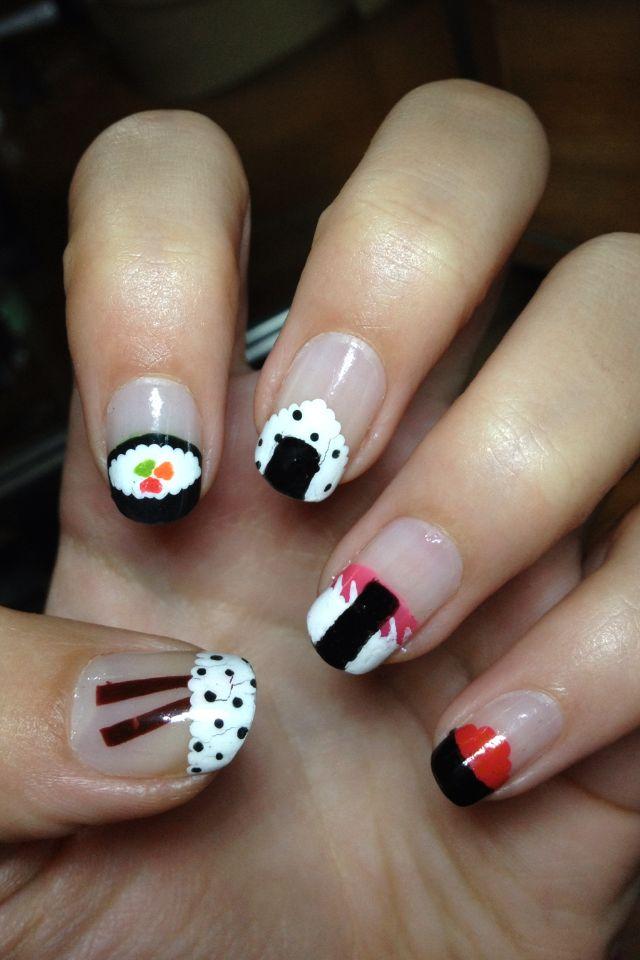 Tiny sushi nails I did last night