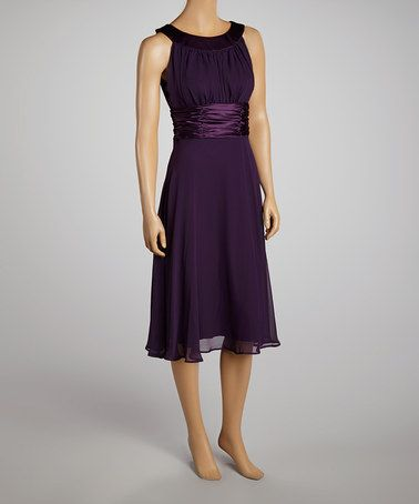 Another great find on #zulily! Dark Eggplant Ruched Dress by Connected Apparel #zulilyfinds
