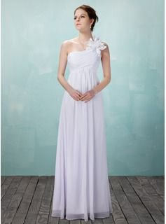 Empire One-Shoulder Floor-Length Chiffon Wedding Dress With Ruffle Flower(s)