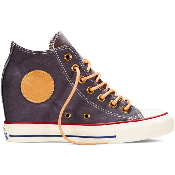 Converse Chuck Taylor All Star Lux Peached Canvas – almost black... (105 CAD) ❤ liked on Polyvore featuring shoes, sneakers, almost black, black wedge sneakers, converse shoes, shiny black shoes, canvas shoes и converse sneakers