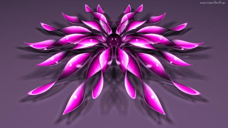 Grafika, 3D, Purpurowy, Kwiat
