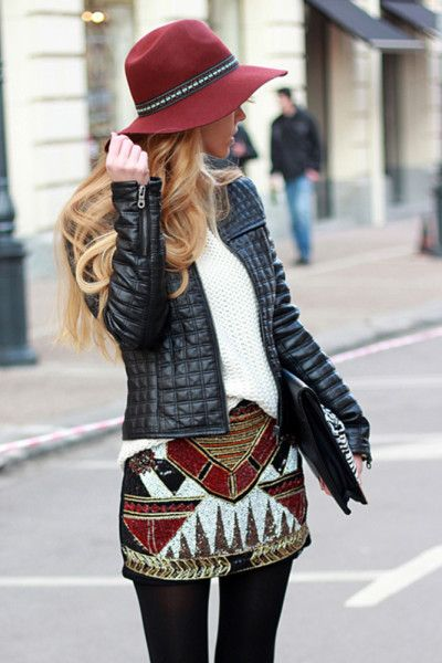 Cute fall outfit with Aztec print and wool hat