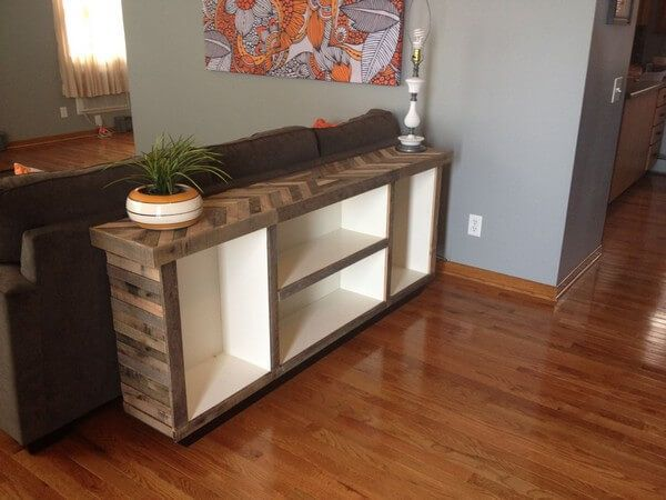 For more decoration or easiness install more pallet in your sofa table to make shelves or step boxes as like in displays in this picture beautifully.