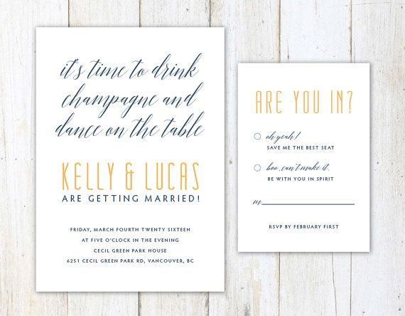 Unique Wedding Invitation Drink Champagne and Dance on the Table by AlexaNelsonPrints