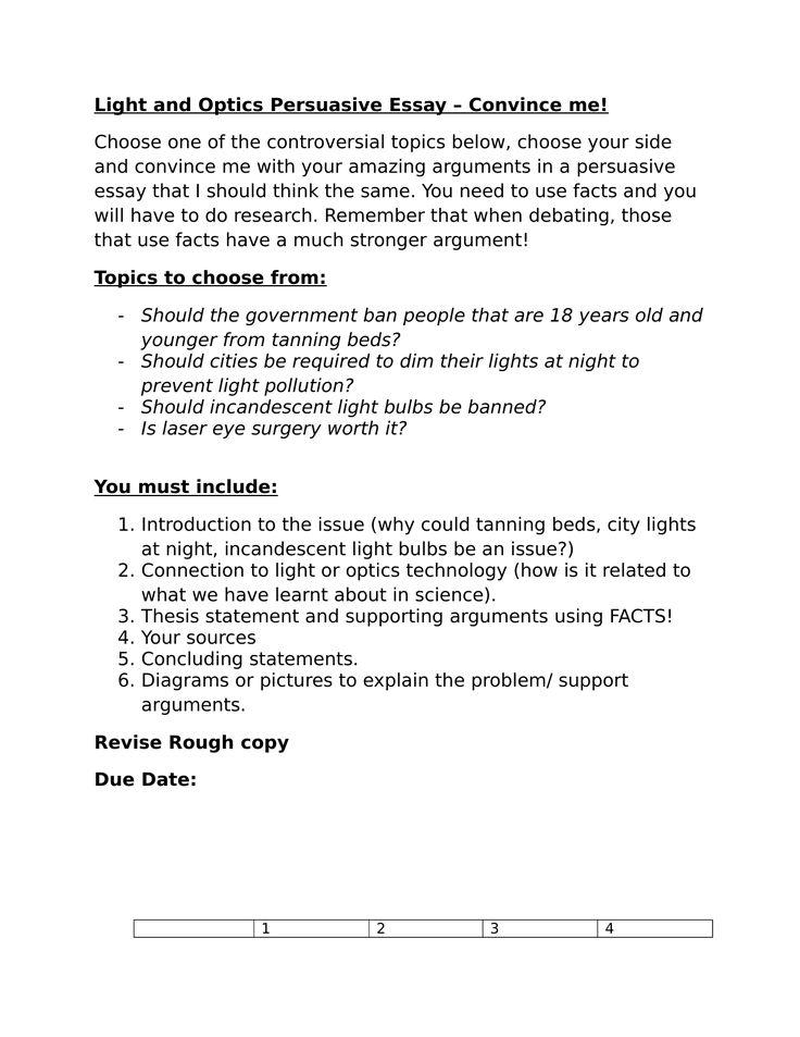 Light and Optics Persuasive Essay Resource Preview