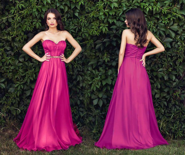 Long evening dress made from silk veil in shades of fuchsia, with precious application at the waist. #dressestoweartoaweddingthissummer