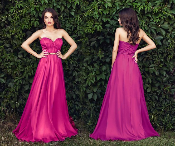 Long evening dress made from silk veil in shades of fuchsia, with precious application at the waist. #dressestoweartoaweddingthissummer
