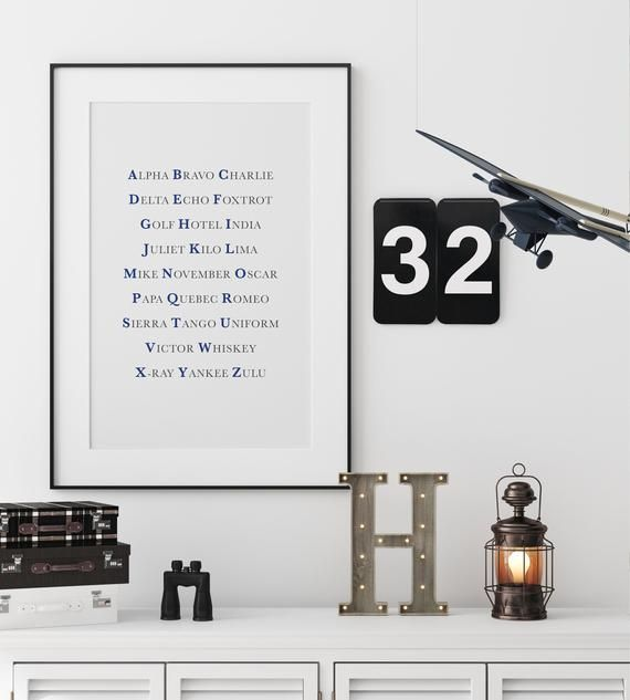 Nato Phonetic Alphabet Print In Blue And Grey Pilot Aviation Gift