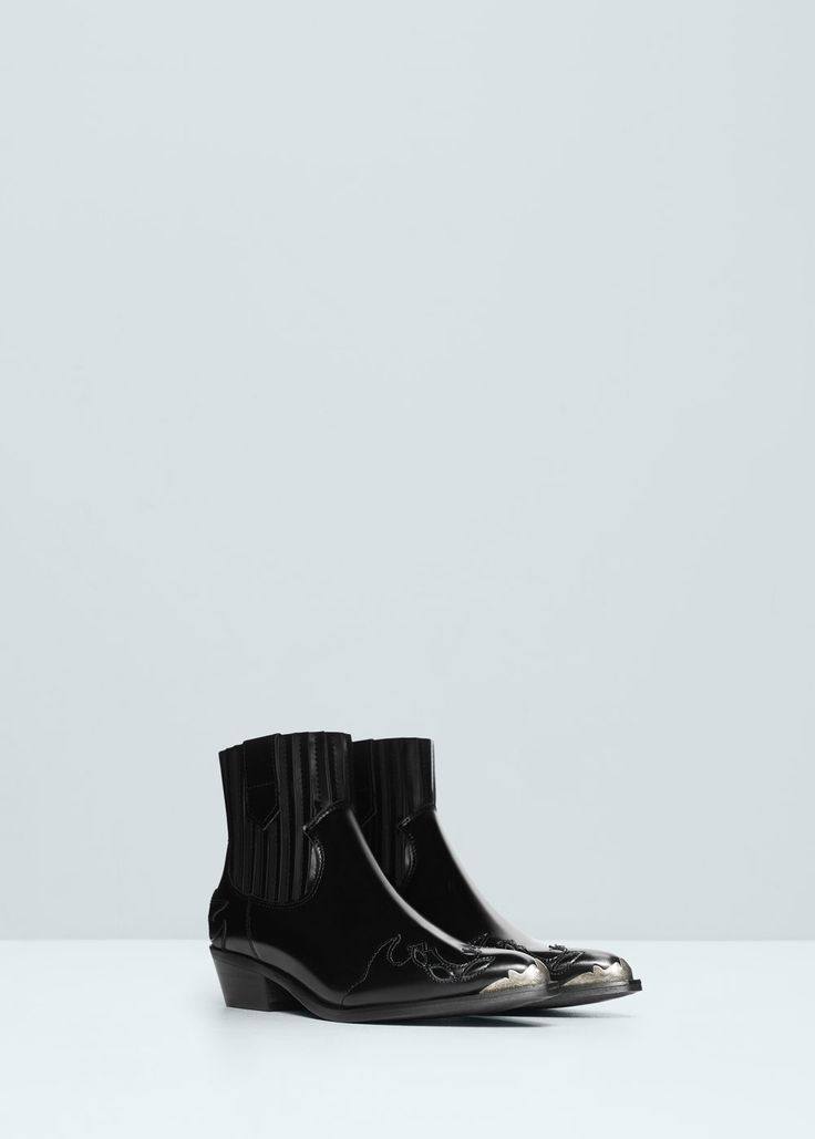 Leather cowboy ankle boots - Shoes for Women | MANGO USA