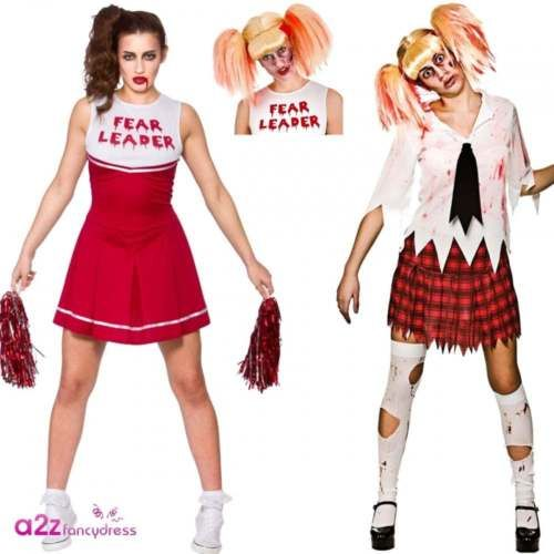 Women zombie student cheerleader adult #halloween fancy #dress costume wig #outfi, View more on the LINK: http://www.zeppy.io/product/gb/2/112162651016/