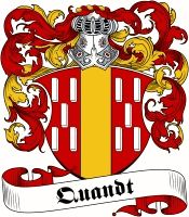 Quandt  family crest / coat of arms from www.4crests.com #coatofarms #familycrest #familycrests #coatsofarms #heraldry #family #genealogy #familyreunion #names #history #medieval #codeofarms #familyshield #shield #crest #clan #badge #tattoo