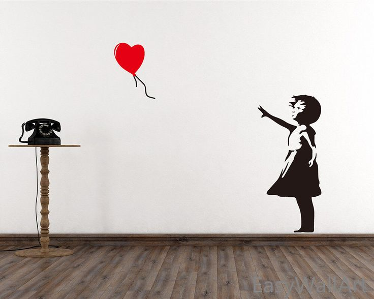 Banksy Wall Decal -  Girl With Balloon Heart Wall Decal, Banksy Decal - Banksy Vinyl Wall Art  Stickers #S17 by EasyWallArt on Etsy https://www.etsy.com/listing/221942344/banksy-wall-decal-girl-with-balloon