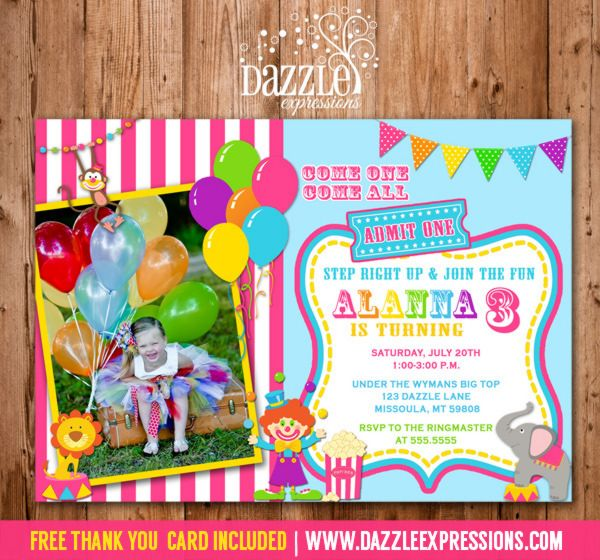 21 best Backyard CarnivalCircus images – Free Printable Circus Birthday Invitations