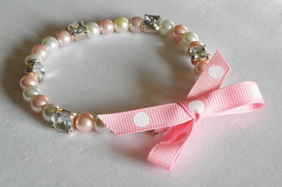 Pet Collar for Small Dogs and Cats. Stretchy Pink, White Pearl and Rhinestone Beaded Bling Collar with Bow.