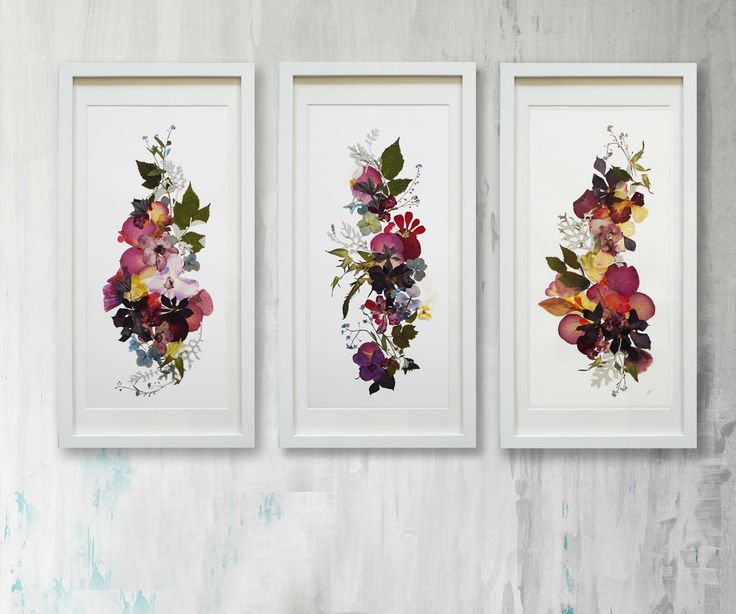 Set of 3 original plants art Floral art Horizontal artwork Flowers decor Pressed flowers art Set of art Botanical illustration by FloralCollage on Etsy
