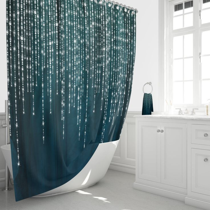 Boho Shower Curtain Dark Teal Lights And Lace 2019 With
