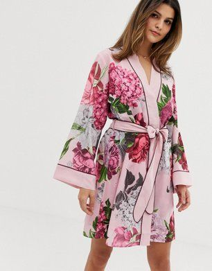 585366c6a206 B By Ted Baker Palace Gardens floral print kimono in light pink in 2019