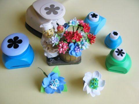 Цветы из фоамирана с помощью фигурных дыроколов для венка. Мастер класс для начинающих. - YouTube