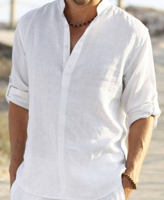 Man white groom linen shirt beach wedding by Maliposhaclothes, $70.00