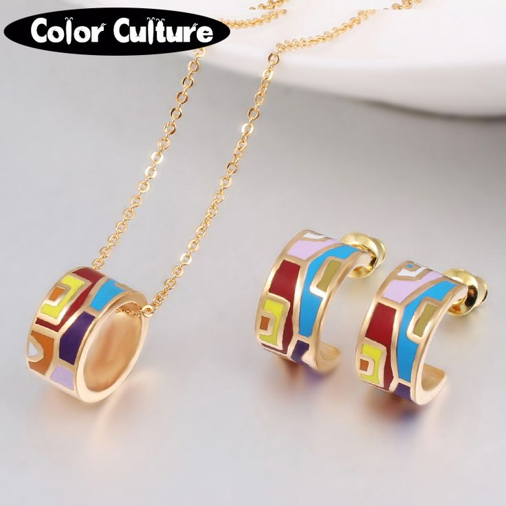 New Brand Exclusive Color Costume Enamel Jewelry Sets for Women Elegant Classic Enamel Jewelry Mother Gift(Necklace, Earring)