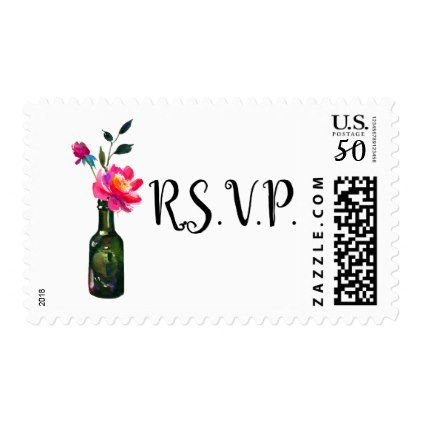 Floral Watercolor RSVP Custom Postage Stamp - floral style flower flowers stylish diy personalize