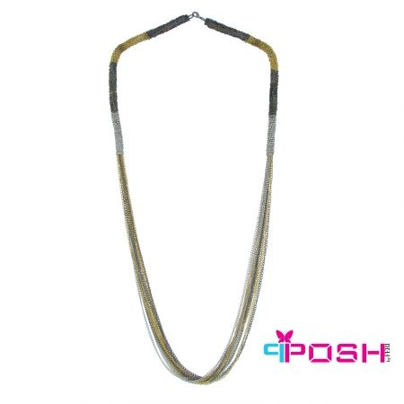 """Shira - Necklace  - Full multi-strands necklace - Black, gold, silver and gun metal colour - Dimension: 35.43"""" + 1.97"""" extending chain  POSH by FERI - Passion for Fashion - Luxury fashion jewelry for the designer in you. #networking #direct #sales #fashion #designer  #brand #onlineshopping #workingfromhome #necklace #accesories"""