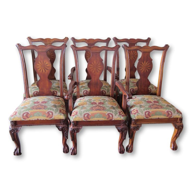 Rustic Queen Anne Dining Chairs with Marquetry Splat-Set of 6