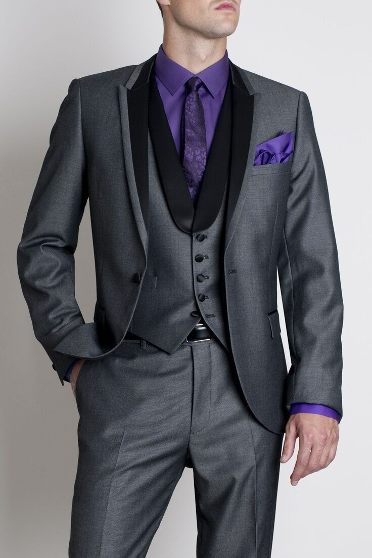 Grey And Purple Prom Suit - Go Suits
