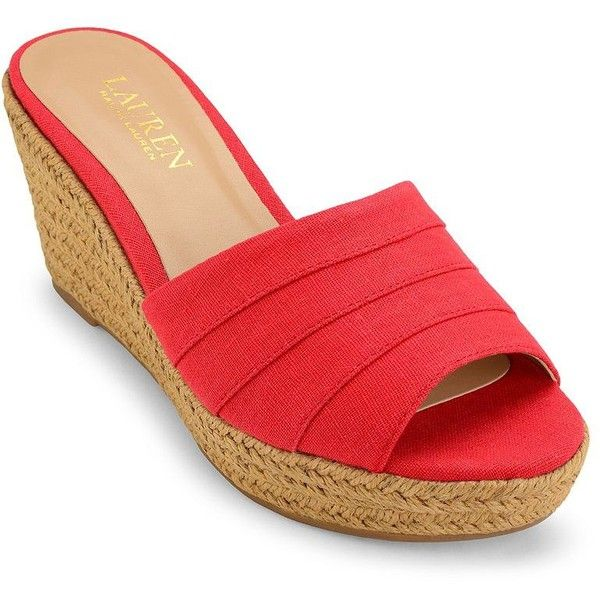 Lauren Ralph Lauren Karlia Wedges Slides ($52) ❤ liked on Polyvore featuring shoes, red, woven slip on shoes, platform wedge shoes, platform slip on shoes, red wedge heel shoes and rubber sole shoes
