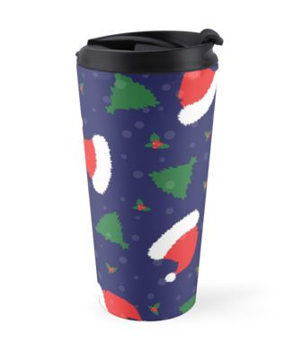 """""""Christmas is in the Air"""" Travel Mugs by jollybirddesign   Redbubble. Spread Xmas joy with the santa's hat, trees and mistletoe pattern."""