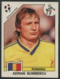 Adrian Bumbescu of Romania. 1990 World Cup Finals card.