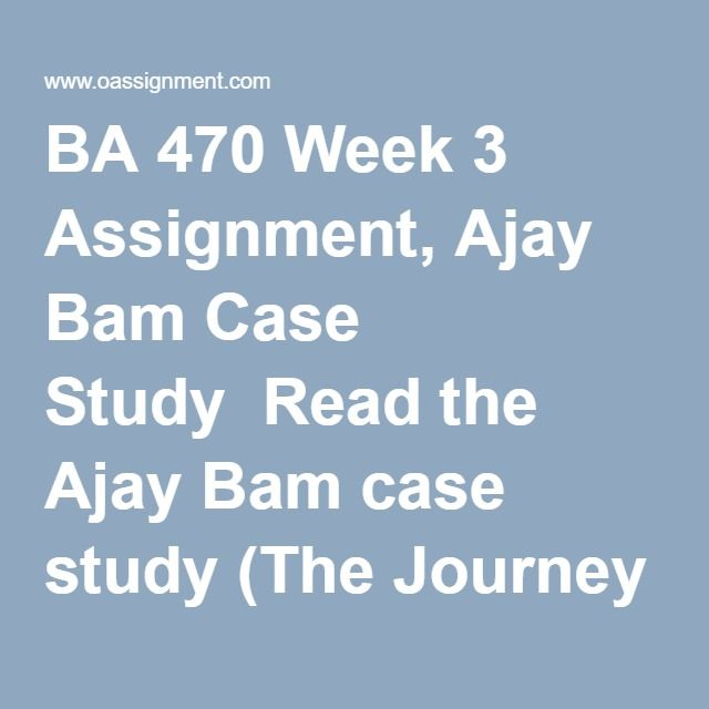 BA 470 Week 3 Assignment, Ajay Bam Case Study  Read the Ajay Bam case study (The Journey Vs. the Destination) in your text. Write a 2-3 page APA style paper that includes a discussion of the following: 1. What traits dos Ajay exhibit that have helped him to get this far? Are these the knowledge, skills, and abilities needed by good entrepreneurs? 2. Define and explain the purpose of a rocket pitch. Imagine a potential investor has heard his rocket pitch. What concerns would a potential…