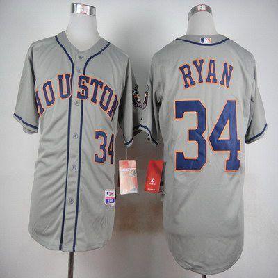 stitched mlb majestic flex base jersey mens houston astros 34 nolan ryan gray cool base jersey
