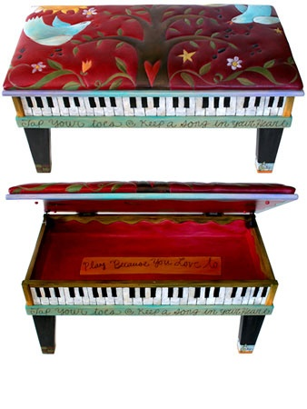 Leather Upholstered Piano Bench.