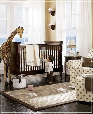 Neutral baby room Neutral baby room Neutral baby room. LOVE LOVE LOVE - btw this is mostly pottery barn kids product :) and I have that giraffe piggy bank - love it!