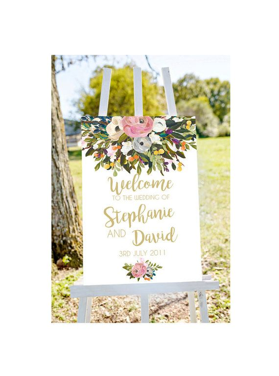 Wedding welcome sign printable wedding sign by Papierscharmants