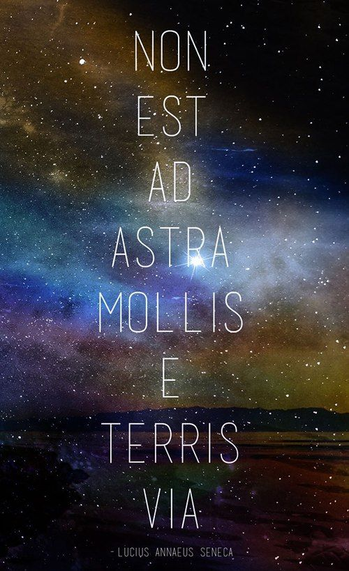 """There is no easy way from the earth to the stars.""  ""Non est ad astra mollis e terris via""  - Seneca"