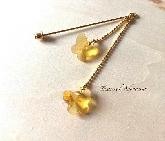 Hijab pin, Crystal Butterfly Yellow Double Dangle Hijab pin, Ramadan Eid gift, Scarf pin, Shawl pin, Butterfly Accessory,  Gift for her,