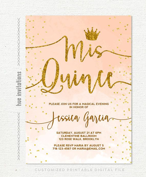 quinceañera invitation coral peach watercolor by hueinvitations