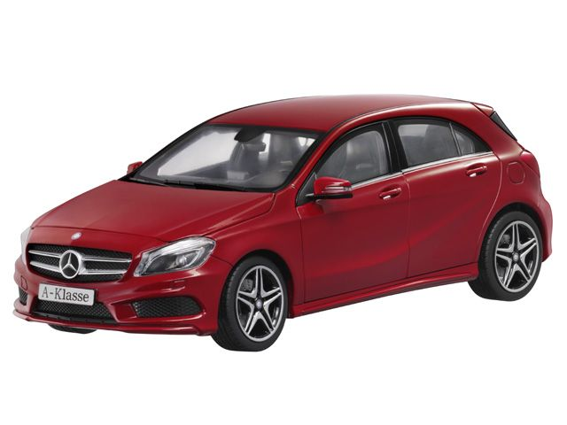 A-Class jupiter red - B66960124 Mercedes-Benz A-Class (W176), AMG Sports package, in various genuine paintwork colours. Diecast zinc. Scale 1:18. Accurate reproduction based on original CAD data. Detailed, high-quality printed interior. Hand-assembled model, made up of over 100 individual parts. Doors, bonnet and tailgate open. Interior and load compartment flock-lined. ILS headlamps, integral seats type 3, privacy windows, 45.7 cm (18-inch) 5-twin-spoke AMG alloy wheels. Supplied with…