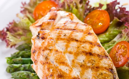 Lunch/Dinner: Epicure's Grilled Yogurt-Marinated Chicken (260 calories/serving) serve with mixed roasted vegetables