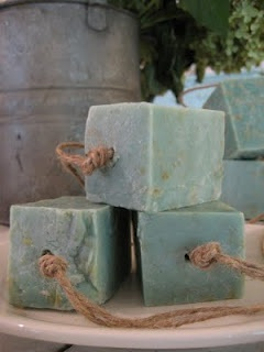 soap on a rope -- I love the raw, handmade look of this.