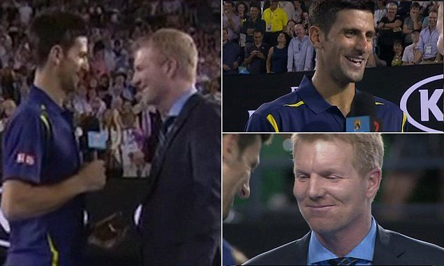 Novak Djokovic calls out Jim Courier's close interviewing style #DailyMail