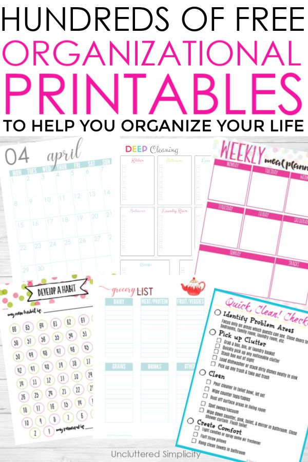 Free Organizational Printables For The Home Organize Declutter Your Life Life Organization Printables Free Printables Organization Organizational Printables