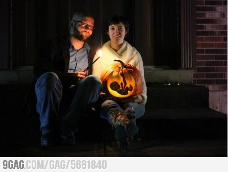 Creative and kinda creepy pumpkin-themed baby announcement.