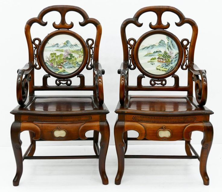Lot: Pair of Chinese Rosewood Armchairs with Porcelain, Lot Number: 0500, Starting Bid: $1,500, Auctioneer: MBA Seattle Auction, Auction: Asian Arts & Ancient Artifacts - SESSION TWO, Date: December 10th, 2016