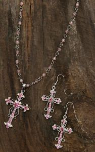 Blazin Roxx® Women's Pink Crystal Cross Necklace & Earrings Set 3030630   Cavender's