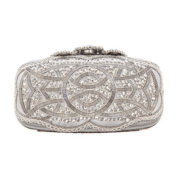 Oscar De La Renta Crown Goa Evening Clutch (£1,510) ❤ liked on Polyvore featuring bags, handbags, clutches, purses, borse, holiday handbags, oscar de la renta, white handbags, white purse and oscar de la renta purse