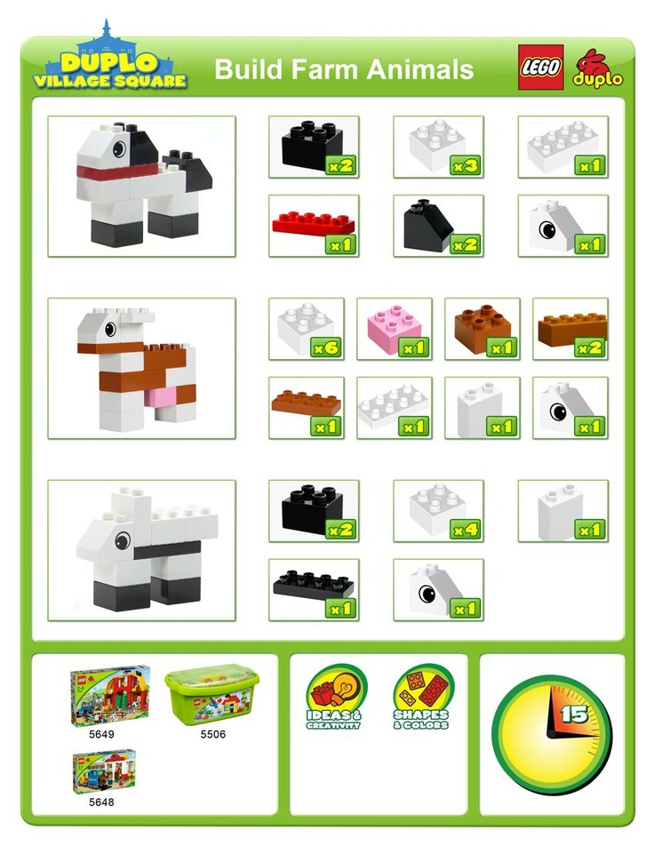 How-To Guide build cute farm animals. Great idea for the #LegoDuploParty
